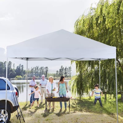 PHIVILLA 10' x 10' Pop Up Outdoor Canopy Tent Commercial Instant Reinforce Canopies with Wheeled Carry Bag, White