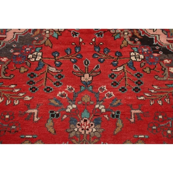 Persian Vintage Fl Red Runner Rug
