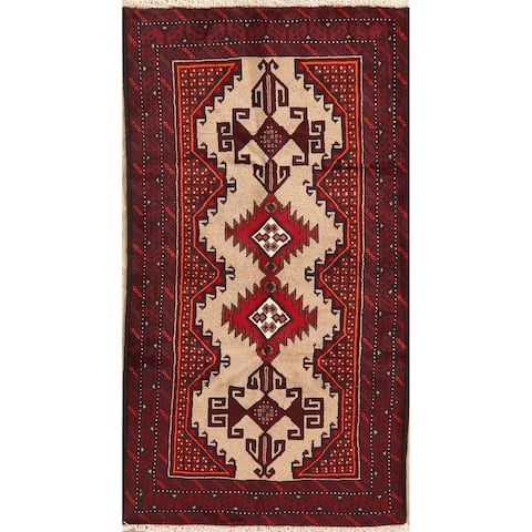 "Geometric Traditional Balouch Afghan Wool Area Rug Oriental Handmade - 3'3"" x 6'2"""