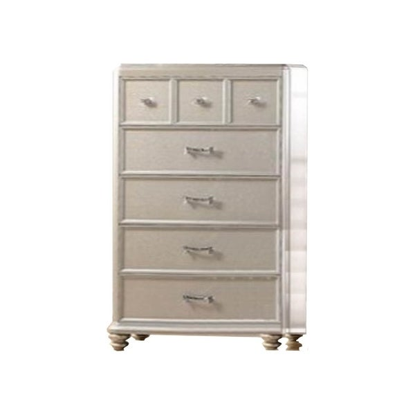 Wooden Chest With Elegant Storage Spaces Silver