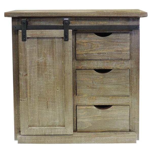 3 Drawer Wooden Accent Chest with Sliding Barn Door Storage, Ash Brown