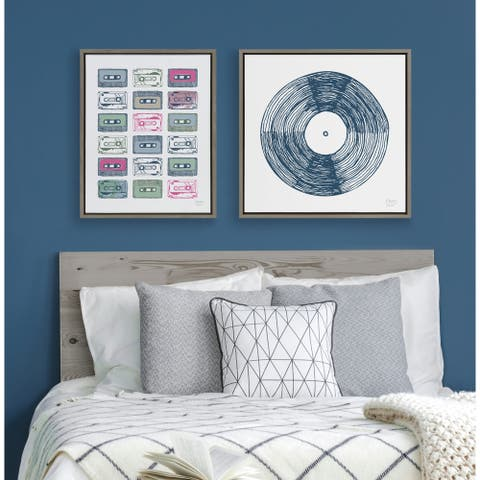 Kate and Laurel Sylvie Cassettes Framed Canvas by Statement Goods