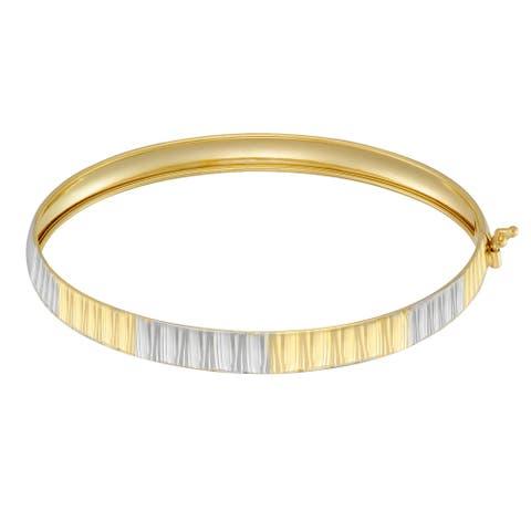 Forever Last 10 K Gold Bonded over Silver 2 Tone Bangle Bracelet
