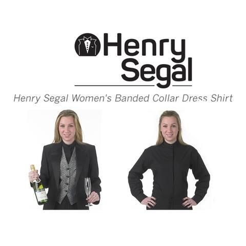 Henry Segal Women's Banded Collar Dress Shirt, Black