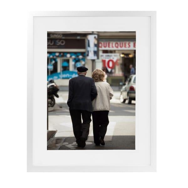 ELDERLY ROMANCE PARIS White Framed Giclee Print By David Phillips