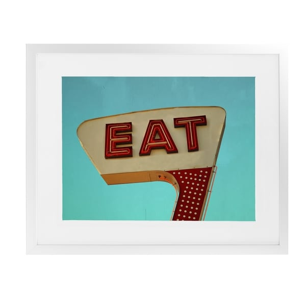 EAT White Framed Giclee Print By BomoBob