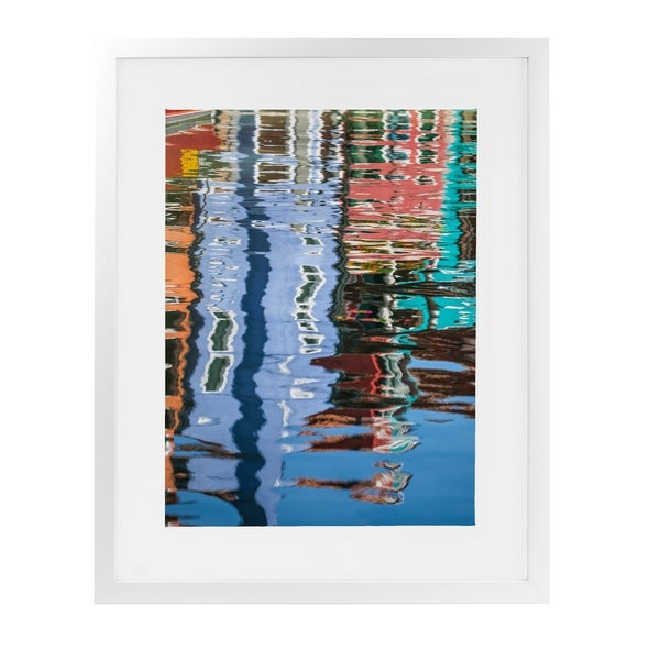 BURANO HOUSE REFLECTIONS White Framed Giclee Print By David Phillips