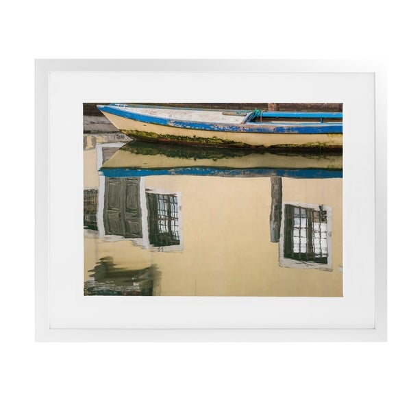 CHIOGGIA WOODEN BOAT REFLECTION White Framed Giclee Print By David Phillips