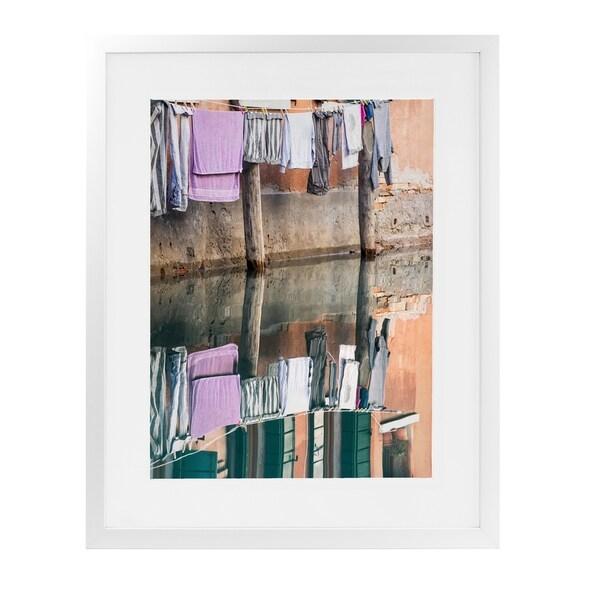 CLOTHESLINE REFLECTION VENICE White Framed Giclee Print By David Phillips