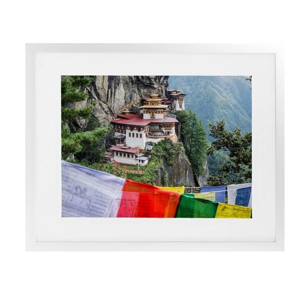 TIGER'S NEST BHUTAN White Framed Giclee Print By David Phillips