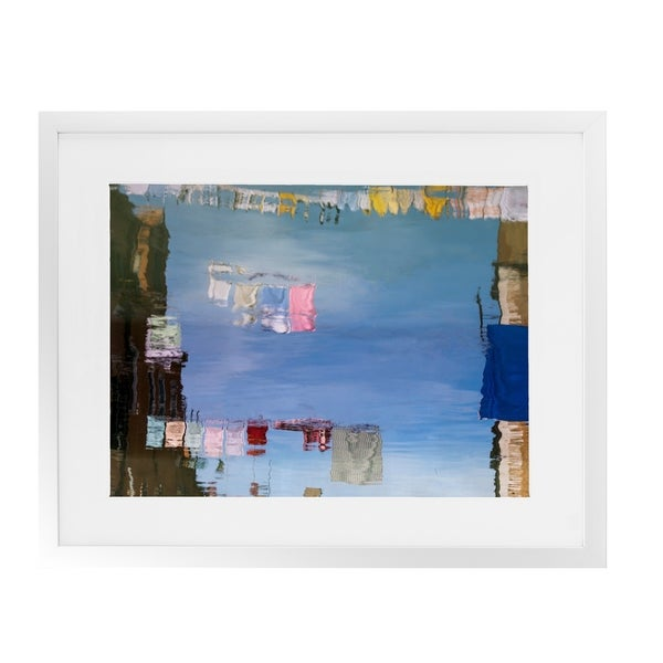 VENICE COLORFUL CLOTHESLINE REFLECTIONS White Framed Giclee Print By David Phillips