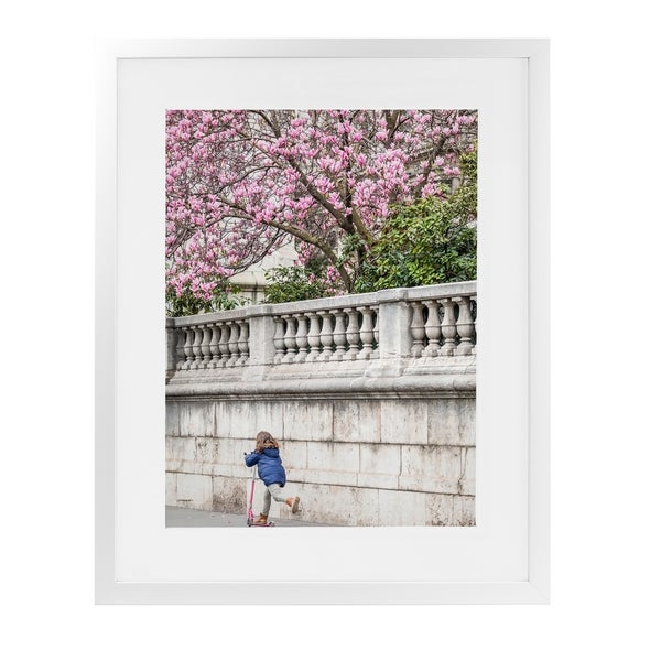GIRL ON SCOOTER PARIS SPRING White Framed Giclee Print By David Phillips