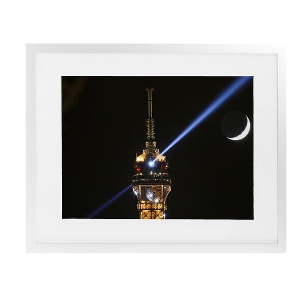 EIFFEL TOWER MOON White Framed Giclee Print By David Phillips