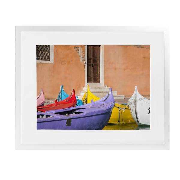 MULTICOLORED VENETIAN BOATS White Framed Giclee Print By David Phillips