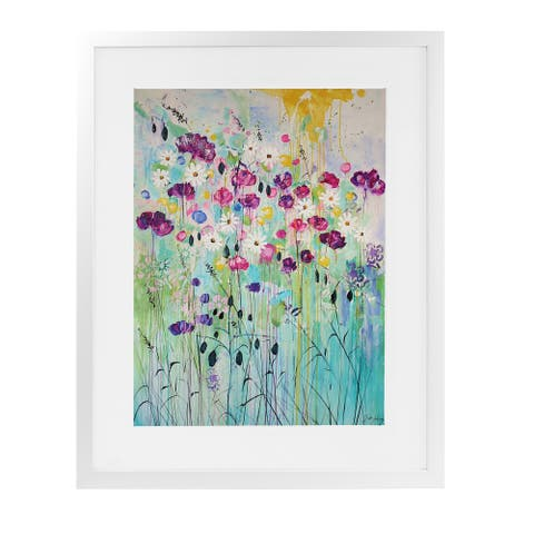 FLORAL PLAY White Framed Giclee Print By Kavka Designs