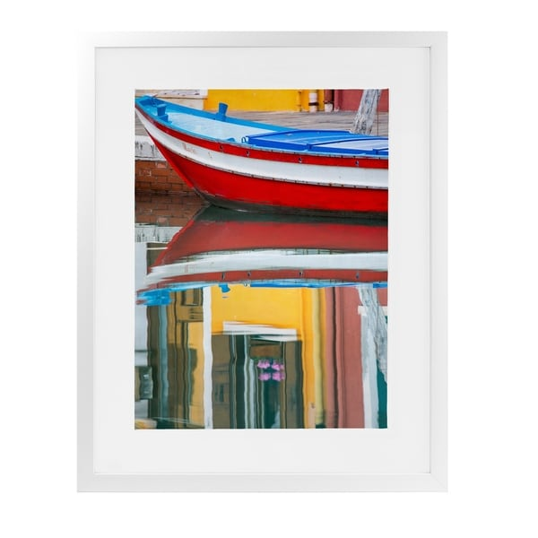 RED BOAT REFLECTION BURANO White Framed Giclee Print By David Phillips
