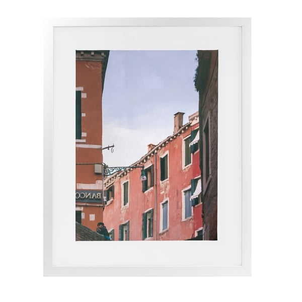 STILL CANAL REFLECTIONS VENICE White Framed Giclee Print By David Phillips