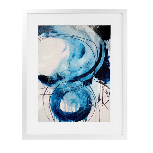 BLUE ABSTRACT ONE White Framed Giclee Print By Jolina Anthony