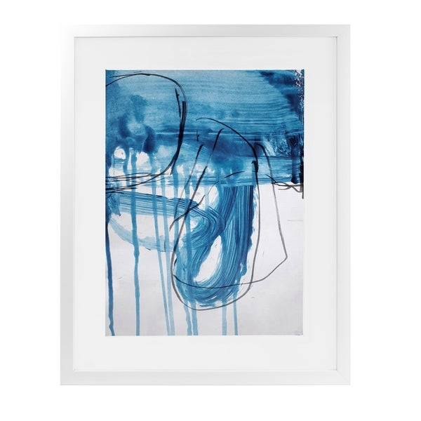 BLUE ABSTRACT FIVE White Framed Giclee Print By Jolina Anthony