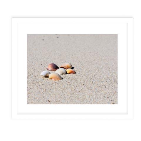 SEASHELLS ON THE BEACH White Framed Giclee Print By Jolina Anthony