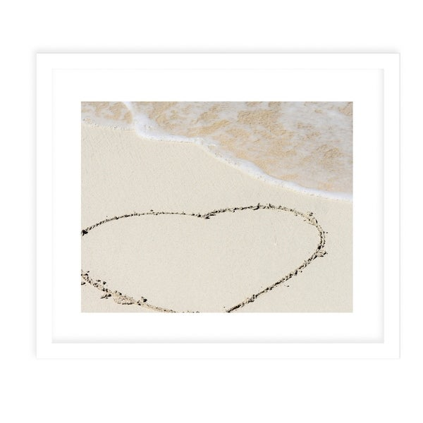 SANDY HEART White Framed Giclee Print By Jolina Anthony