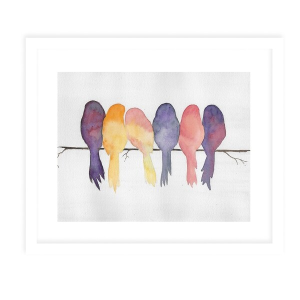 BIRDS ON A WIRE White Framed Giclee Print by Kavka Designs. Opens flyout.