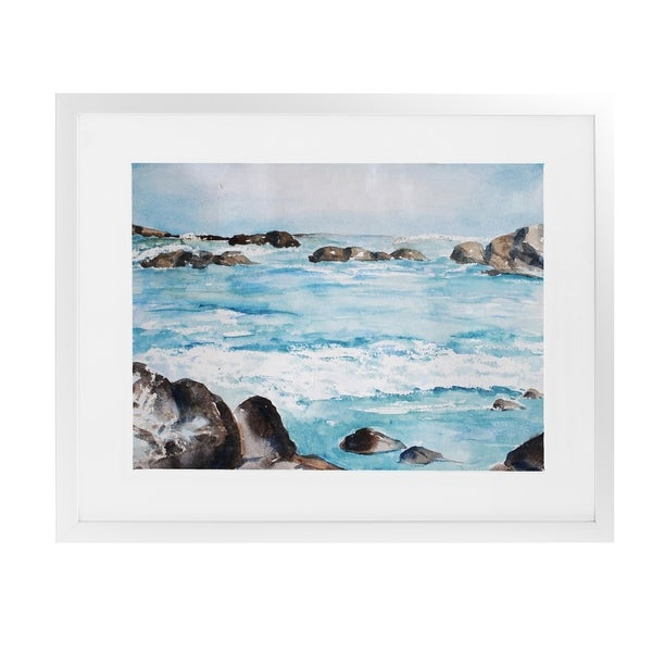 ROCKY WAVES White Framed Giclee Print By Jayne Conte