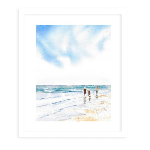 BEACH WALK White Framed Giclee Print By Kavka Designs