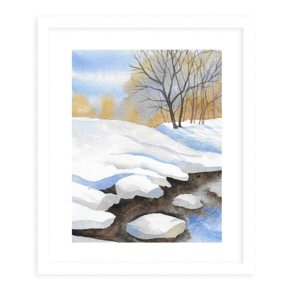 FROZEN STREAM White Framed Giclee Print By Jayne Conte