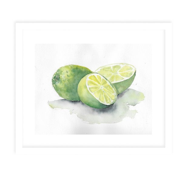 CUT LIMES White Framed Giclee Print By Jayne Conte