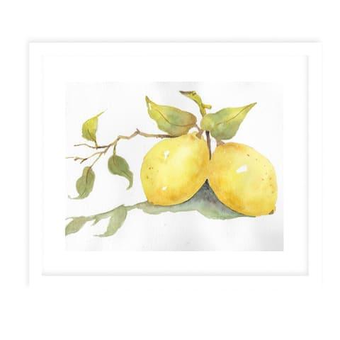 LEMONS White Framed Giclee Print By Jayne Conte
