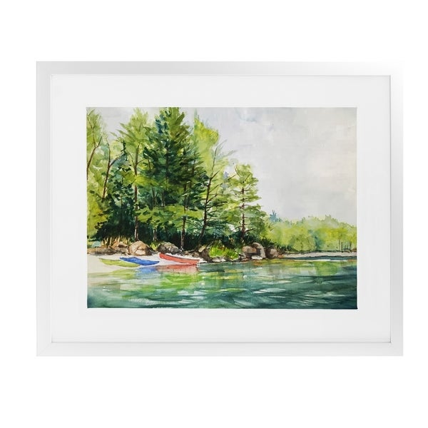 KAYAK LAUNCH White Framed Giclee Print By Jayne Conte