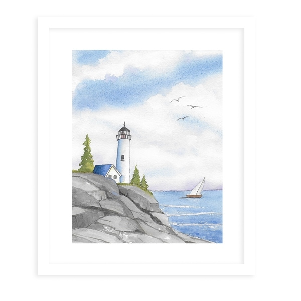 LIGHT HOUSE WITH BOAT White Framed Giclee Print By Jayne Conte