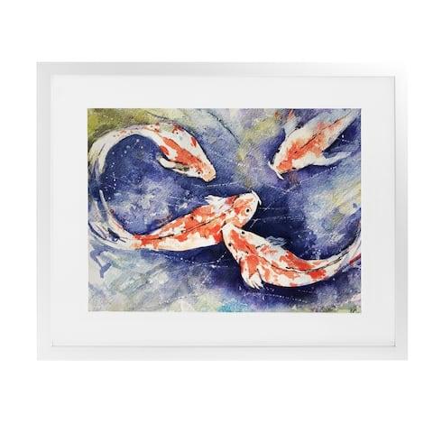 KOI White Framed Giclee Print by Kavka Designs