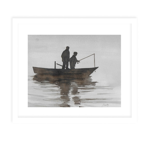 FATHER AND SON BOAT White Framed Giclee Print By Jayne Conte