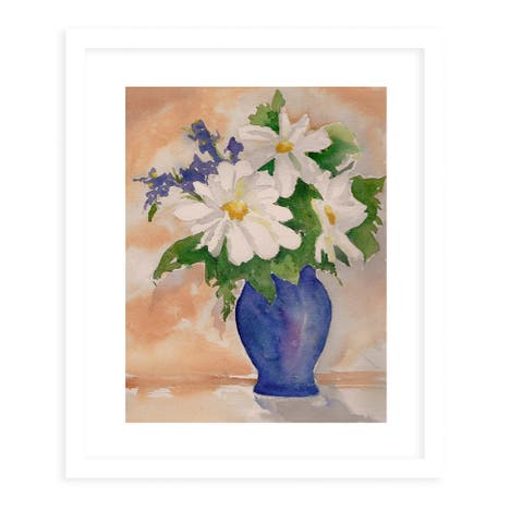 DAISY in VASE White Framed Giclee Print by Kavka Designs