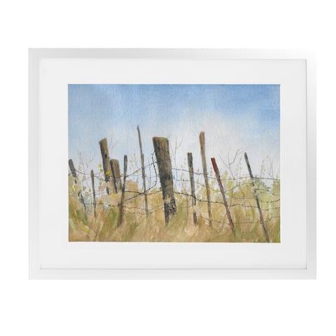 FENCE White Framed Giclee Print by Kavka Designs