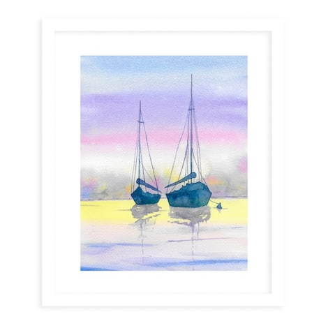 BOATS at SUNSET White Framed Giclee Print by Kavka Designs