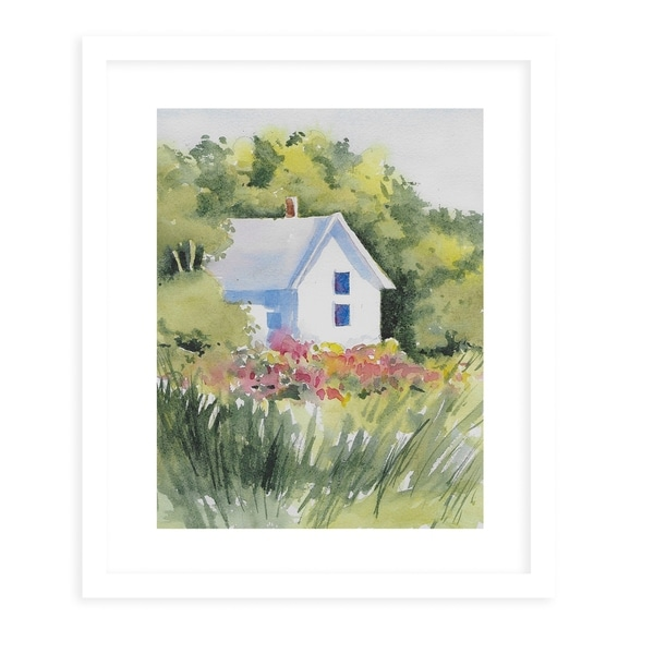HOUSE IN THE GRASSES White Framed Giclee Print By Jayne Conte