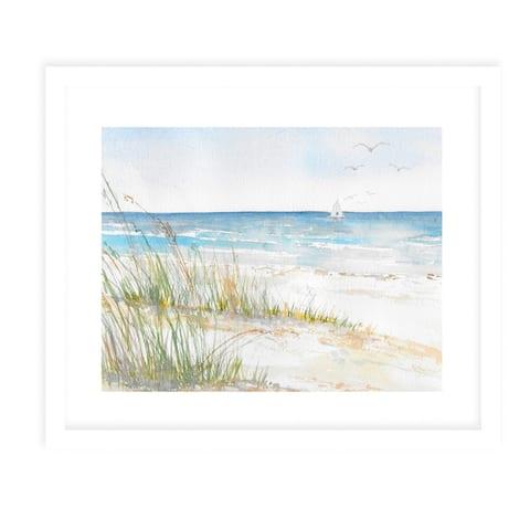 BEACH GRASSES White Framed Giclee Print By Kavka Designs