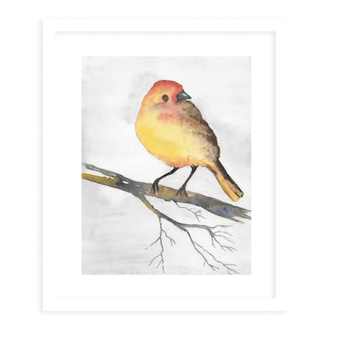 YELLOW BIRD White Framed Giclee Print by Kavka Designs