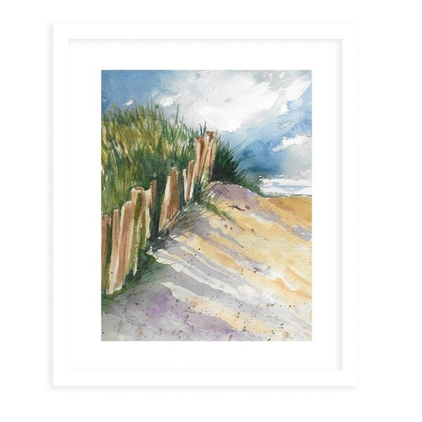 BEACH FENCE White Framed Giclee Print By Jayne Conte