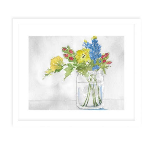 FLOWERS IN JAR White Framed Giclee Print By Kavka Designs