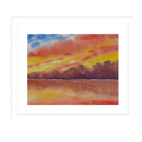 MOUNTAIN REFLECTION White Framed Giclee Print by Kavka Designs