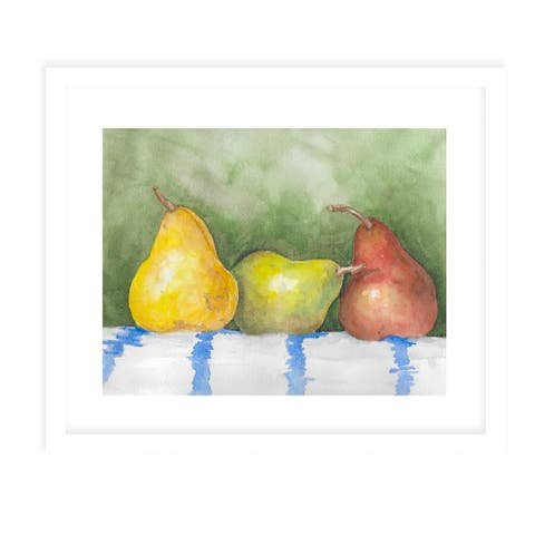 THREE PEARS White Framed Giclee Print by Kavka Designs