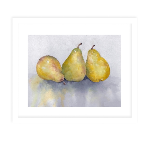 PEARS White Framed Giclee Print By Jayne Conte