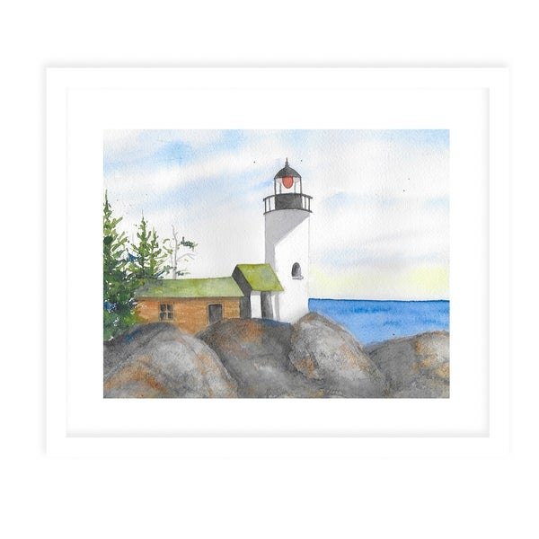 LIGHTHOUSE WITH ROCKS White Framed Giclee Print By Jayne Conte