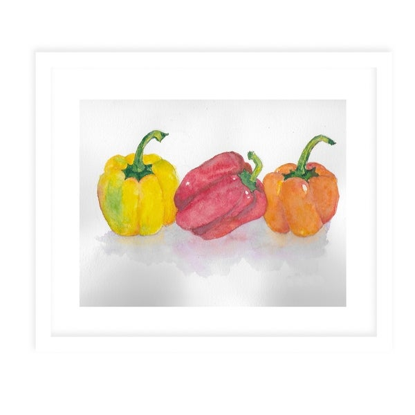 TRI COLOR PEPPERS White Framed Giclee Print By Jayne Conte