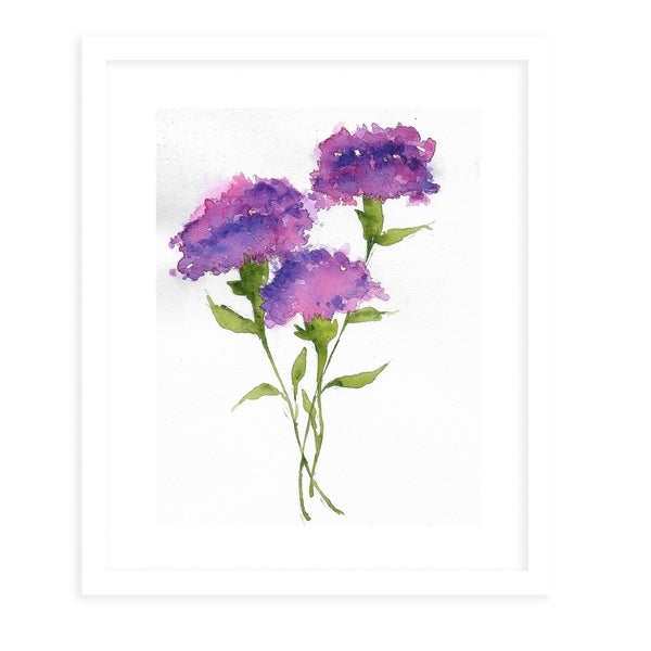 PURPLE CARNATIONS White Framed Giclee Print By Jayne Conte