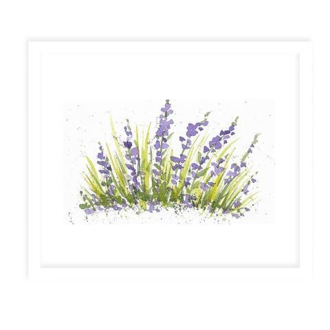 PURPLE FLOWERS White Framed Giclee Print by Kavka Designs